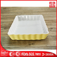 microwave safe colorful rectangular wavy shaped ceramic small bakeware dinner plate