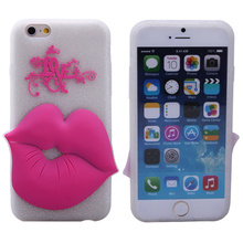 wholesale cute lip shape fluorescence silicone smartphone case for iphone