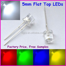 5mm flat top dip led diode with ultra brightness white red green blue yellow, etc. ( CE & RoHS Compliant )