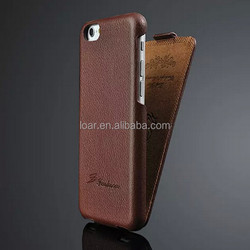 Genuine Leather Flip Case for Iphone 6 Brown