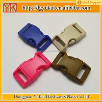 Yukai plastic bag strap buckle 16mm/plastic curved paracord buckle for survival bracelet