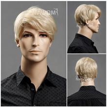 W3560 Fashionable smooth new natural human hair half wig men wigs