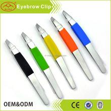 Plastic sofe touch slant tweezers cosmetic tweezers eyebrow tweezers