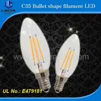 Langma AC 110v 220v high quality CE Rohs 40w retrofit soft warm white e14 4w filament led candle light bulb clear glass cover