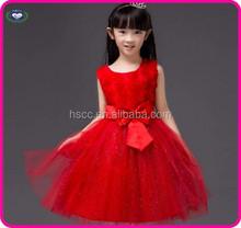 Red Children flower girl dress of 9 years old baby girl wedding dress wholesale factory dress