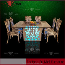long lifetime glass dining table for pattern making with Led
