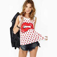 De impresión walson rojo de labios sexy mujeres hippie grande punto camiseta sin mangas t- shirt plus instyles001637 tamaño