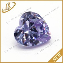 lavender heart shape AAA cz gemstones processing