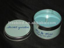 Decorative Scented Tin Candle + secret garden