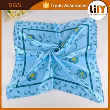 2015 hot sale fashionable silk like blue handkerchief wholesale handkerchief