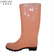 PVC Rain Boot, Orange Ground Has Printing With Black Sole New Design Wellington Waterproof Rain Boot Manufacturer