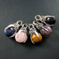 18x35mm rhoudium plated lapis,rose quartz,tiger eye,amethyst,blue sandstone ball claws pendant charm supplies 1820222
