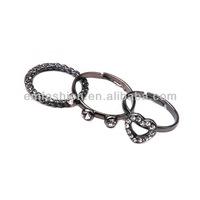 Fashion Personality Punk Jewelry Hollow Rhinestone Heart Charms Girls Finger Ring Set
