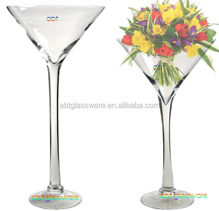 Wholesale Large Clear Tall Martini Glass Vase Martini For