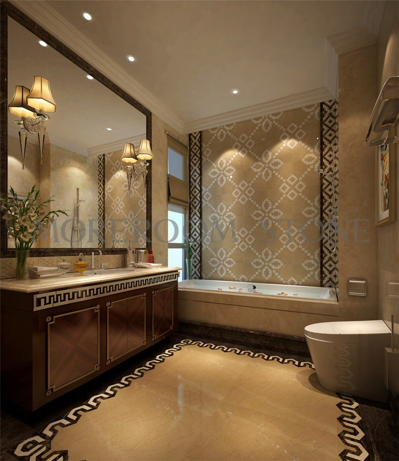 MPH02MG33 Moreroom Stone Turkish Golden Beige Marble Tiles White Marble Tiles Price Wall Mosaic Polished Marble Mosaic Tiles Home Marble Flooring Mosaic Bathroom Design Mosaic Medallion Inlay Marble Tiles-1.jpg