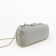 3mm Diamante Encrusted Stud Detailed Clasp Top clutch bag in silver
