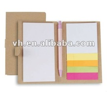 2012 New design notepad with craft cover with ballpen