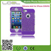 Protective Case Soft Neon Purple Silicone Cover with Clear Sparkly Glitter Design Shell for Apple iPhone 5, 5S,5G