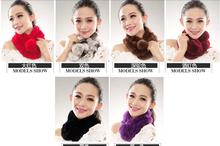 Round Neck Scarf Winter Women's Rex Rabbit Fur Collar Scarf