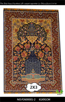 [Inventory]2x3 persian tree of life silk carpet Silk Hand Tufted Sage/Ivory Rug carpets for sale