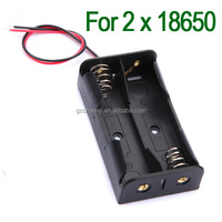 NEW Plastic Black Rechargeable Battery Storage Case Box Holder for 2 x 18650 6'' Wire Leads High Quality
