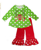 New Arrive Christmas Girls Suits Dot Top Shirt&Red Pants Kids Clothing Sets Sleepwear For Children Kids Winter Cotton Clothes