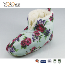 hot selling flowery indoor boots for baby with soft sponge sole