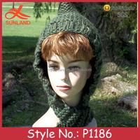 P1186 wholesale winter warme wimen knit hat scarf attached neck warmer
