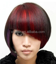 Alibaba hot selling human hair clip bangs with fashion color