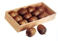 """3-3/8""""H Thanksgiveing Carved Wood Acorn Decorations"""