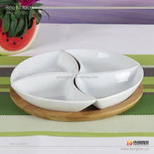 Hot sale discount white ceramic snack plate with 4 combinations