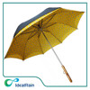 straight wooden handle wind resistant double layer inside full print umbrella