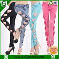 nuevo diseño slim fit mujeres skinny jeans al por mayor baratos thin señoras sexy medias de las niñas