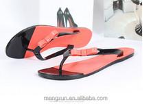 2015 Han edition bowknot flip-flops female thong jelly beach shoes Flat leisure bathroom sandals