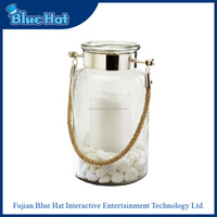 Most popular hanging glass lantern with LED candle