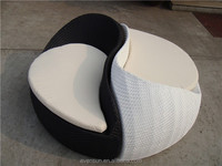 Ying Yang Unique Shape Rattan Outdoor Daybed