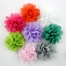 Wholesale fashion hair accessories fascinator 21 colors multilayer chiffon flowers