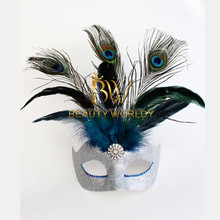 Silver Glam Venetian Masquerade Feather Mask