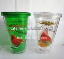 Christmas cups,double wall cup with lid and straw BPA free
