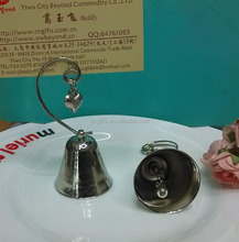 Wholesale Silver Bell with Dangling Heart Charm Photo Place Card holder wedding table decoration