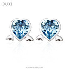 OUXI angel heart shaped sea blue crystal with fashion leading 925 silver stud earrings Y20227