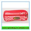 Red full letter print front zipper pocket pen bag pencil case