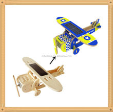 construction DIY educational wooden solar power plane toys