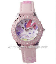 Baby Pink Carton Mickey Face Leather Kids Watch Ben 10 Watch