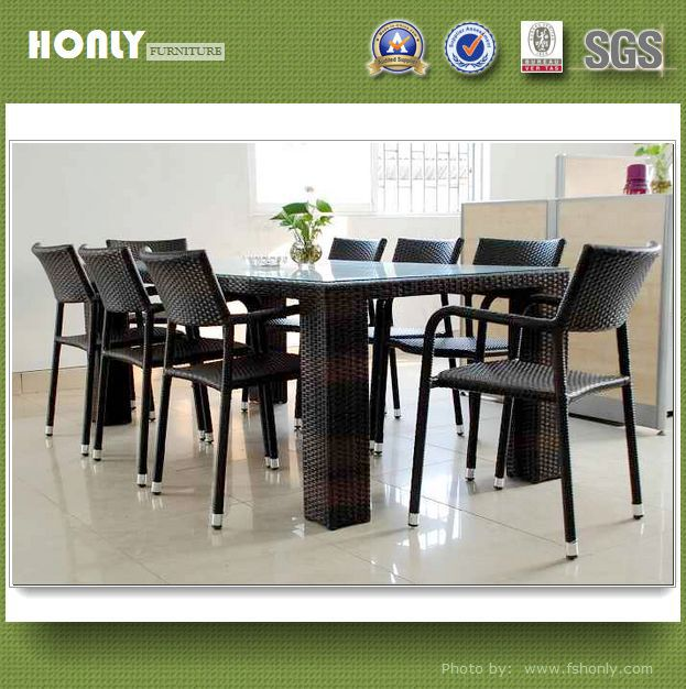 Rectangle wicker dinning table with chair set