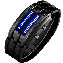 IP plating black colour LED wrist watch,CE/ROHS certificate,no harm to skin