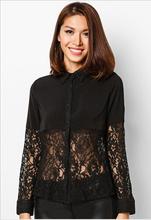 nuevo 2014 negro de manga larga con cordones modelos blusa