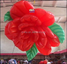 Party/event/club decorative inflatable flower with Led light/Red inflatable rose flower -2M