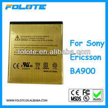 for Sony Ericsson BA900,high capacity gold li-ion phone battery 2450mah
