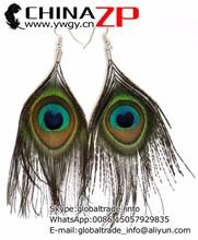 Factory Wholesale Handmade Big Eye Natural Peacock Feathers Earring